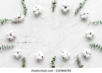 Flowers frame with fresh eucalyptus branches and cotton on white background top view copy space