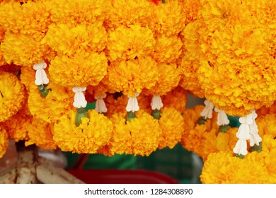 flowers garland in market