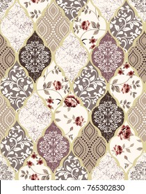 Flowers and geometric pattern.for textile, wallpaper, pattern fills, covers, surface, print, gift wrap, scrapbooking, decoupage