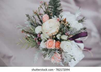 Flowers gift arrangement. Desaturated image with pastel colors toning