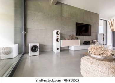 Flowers in gold vase on braided pouf in stylish living room with loudspeakers against concrete wall