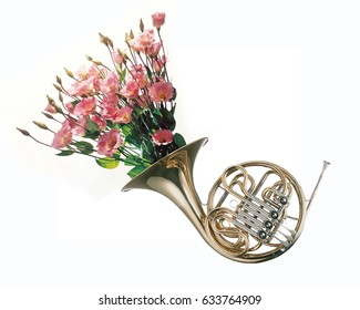 Flowers growing from French horn, creative photo with clipping mask.
