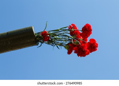 """flowers in a gun trunk, celebration of """"Victory Day"""""""