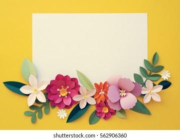 Flowers Handmade Papercraft Art Placard Copy Space