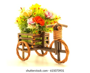 flowers isolated in pot bike on white background