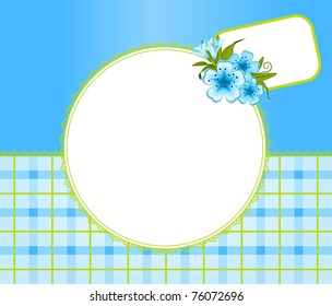 Flowers with lace ornaments on background