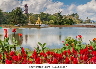Flowers and a lake in National Kandawgyi Botanical gardens in Pyin Oo Lwin, Myanmar