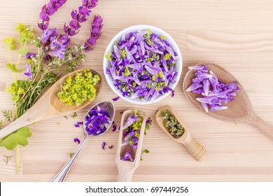 flowers of lavender, thyme and lady's mantle