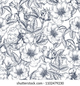Flowers, leaves and buds of dog rose. Seamless pattern. Botanical pattern in vintage style. Graphic. A beautiful illustration for printing on fabric, clothing, wallpaper, packaging and other  surfaces
