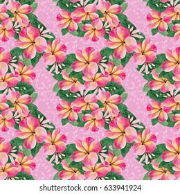 Flowers, leaves and buds of plumeria.Watercolor background. Abstract wallpaper with floral motifs.  Seamless pattern. Wallpaper.  Use printed materials, signs, posters, postcards, packaging.