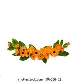 Flowers with leaves Calendula (Calendula officinalis, pot marigold, ruddles, garden marigold, English marigold) on a white background. Top view, flat lay. Medicinal herb.