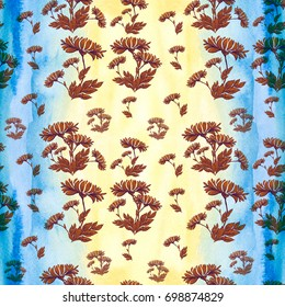 Flowers and leaves. Floral motifs. Seamless pattern. Decorative composition on a watercolor background. Use printed materials, signs, items, websites, maps, posters, postcards, packaging.