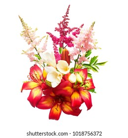 Flowers of lily, ixia and astilbe in a bouquet isolated on white background. Flat lay, top view