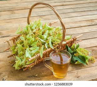 Flowers of a linden in basket and transparent mug of lime tea on a wooden table