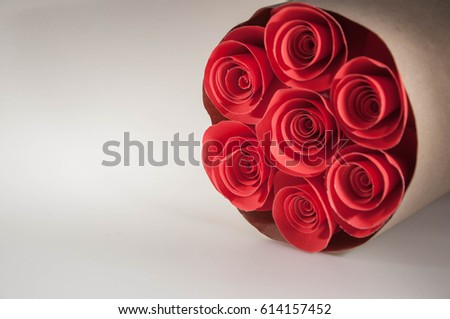 Flowers made red paper red rose stock photo edit now 614157452 the flowers made of red paper a red rose and a bouquet of flowers on mightylinksfo
