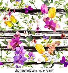 Flowers at monochrome striped background. Repeating floral background. Watercolor with black stripes