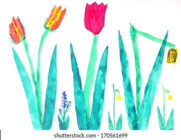 Flowers in a multi-colored childrens drawings