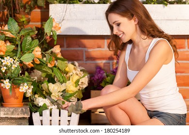 Flowers need a gentle touch. Attractive young woman adjusting flowers in the pot and smiling