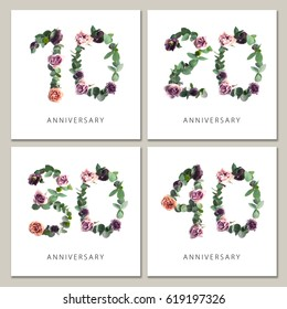 Flowers numbers cards set. Anniversary invitations. Creative photo numbers 10, 20, 30, 40 design with leaves and flowers on white background.