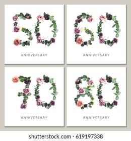 Flowers numbers cards set. Anniversary invitations. Creative photo numbers 50, 60, 70, 80 design with leaves and flowers on white background.