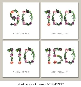 Flowers numbers cards set. Anniversary invitations. Creative photo numbers 90, 100, 110, 150 design with leaves and flowers on white background.