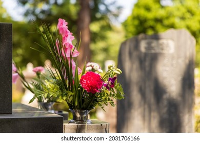 Flowers offered to the grave when visiting the grave