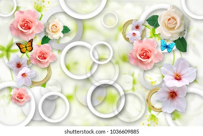 Flowers on an abstract background. 3D Wallpapers for walls. 3D Render.