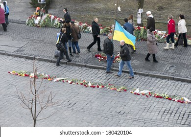 Flowers on the barricades of Kiev in place of death during a riot in February 2014 during the political crisis in Ukraine