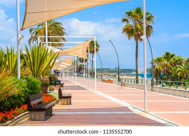 Flowers on beach promenade in Estepona town on Costa del Sol, Spain