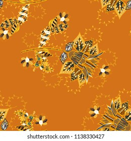 Flowers on orange, yellow and brown colors. Flat flowers seamless pattern. Design gift wrapping paper, greeting cards, posters and banner design.