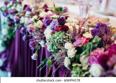 The flowers are on the wedding table