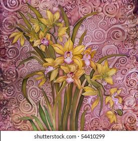 flowers orihidei, painting batik