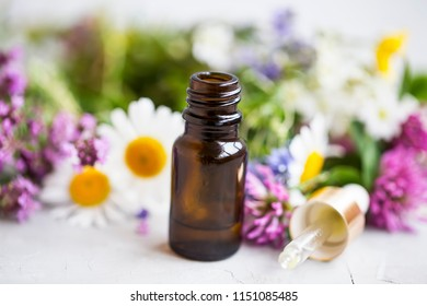 Flowers and plants essential oil bottle with dropper, closeup of essential oil bottle