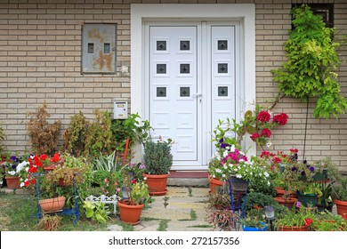 Flowers and plants in front of house entrance