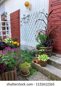Flowers, pots and plants on old backyard against outbuilding with white wall, stone stairs and red doors.
