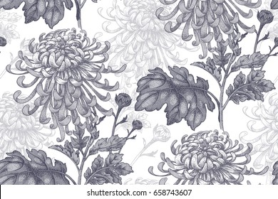 Flowers realistic black chrysanthemum on a white background. Seamless pattern for a fabric, paper, wallpaper, textile, packaging, drapes. Vintage illustration.