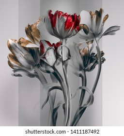 flowers with red and yellow buds. multi-layer composition, gray background.