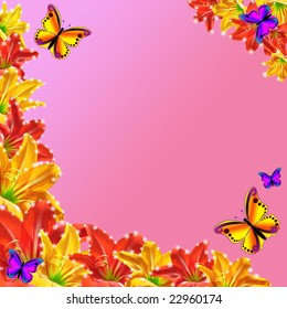 Flowers red yellow with butterfly on rose background