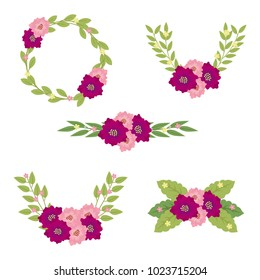 Flowers set. Colorful floral collection with leaves and flowers.Design for invitation, wedding or greeting cards.