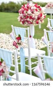 Flowers setup at the wedding ceremony