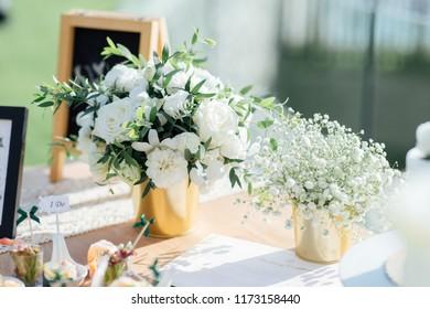 Flowers setup for wedding ceremony