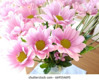Flowers with shining on the left side. Pink and yellow color.