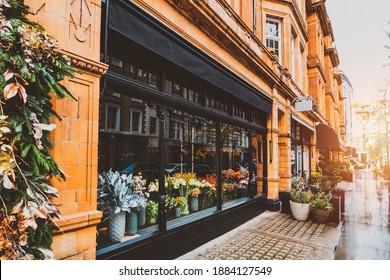 flowers shop front terrace in marylebone london