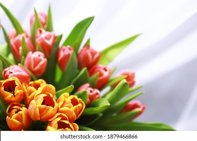 Flowers, spring holidays and home decor concept - Bouquet beautiful tulips, floral background