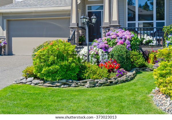 Flowers Stones Front House Front Yard Stock Photo Edit Now 373023013