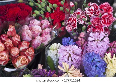 Flowers from a street vendor in Madrid, Spain