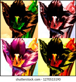Flowers in the style of Andy Warhol