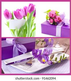 flowers, table setting and present for mothers day