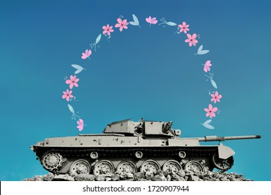 flowers and tank with a soothing blue skied background