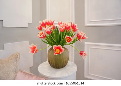 Flowers tulips in a vase
